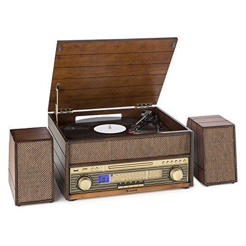 auna Epoque 1909 Système audio rétro Tourne-disque Cassette Bluetooth USB CD AUX (tuner radio FM, entrée AUX, 2 haut-parleurs) – bois marron