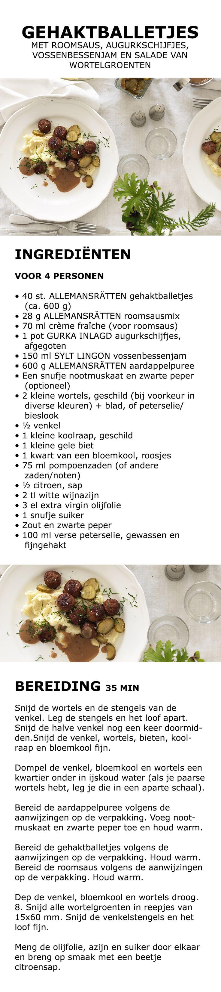 Inspiratie voor de feestdagen - Gehaktballetjes met roomsaus, augurkschijfjes, vossenbessenjam en salade van wortelgroenten | IKEA IKEAnederland koken keuken recept herfst winter kerst diner lunch wortel koolraap gele biet puree pompoenzaden citroen
