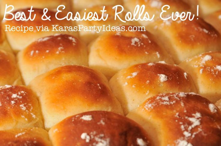 Best and Easiest Rolls ever! You won't have to use any other recipe again! SO yummy! Recipe via Kara's Party Ideas KarasPartyIdeas.com #best #easy #roll #recipe #ever #yeast #butter #party #entertaining #food #idea