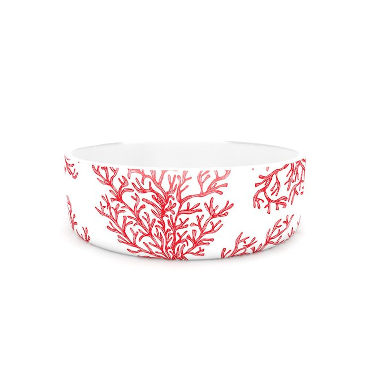 Anchobee Quot Coral Quot Red White Pet Bowl Kess Art Pet Items