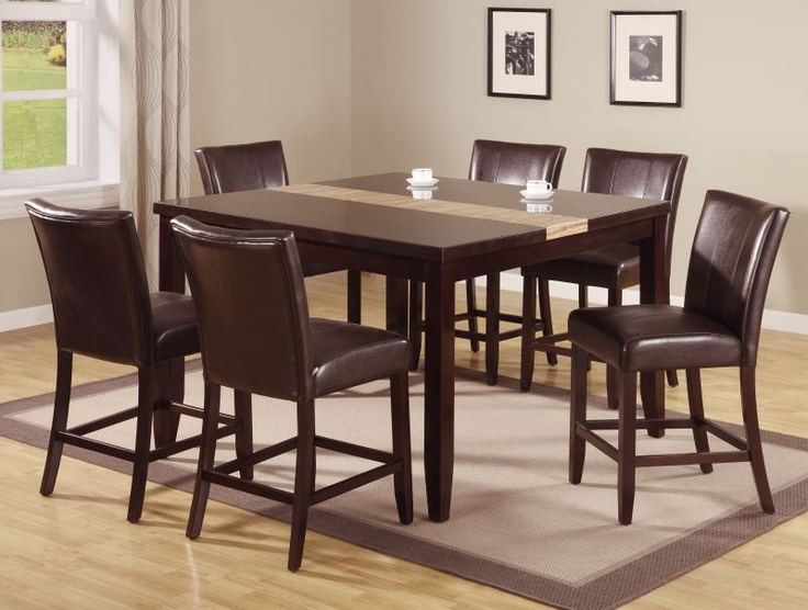 56999 Beautiful Ferrera Dark Brown Wood Table With Upholster On ChiarsFits Perfect For