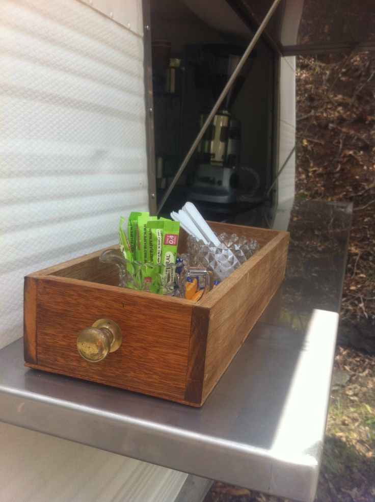 Old vintage wooden drawer box in use at the sugar station. #thecuriouscaravan #coffeevan #brisbane #australia #events