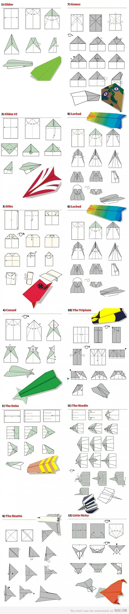 12 nice paper airplane plans! Would be fun to make with the grandkids!