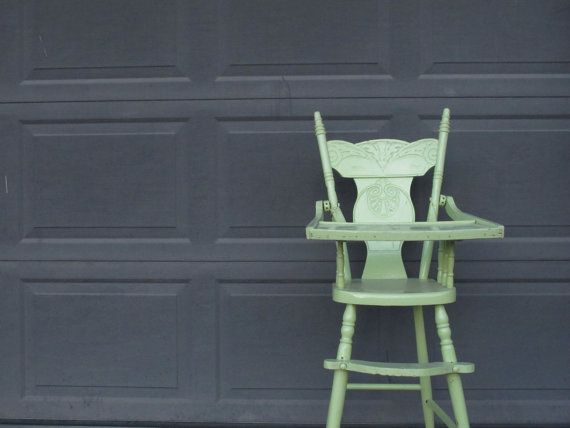 Antique Child's High Chair Lime Green Painted Wooden by akaATA