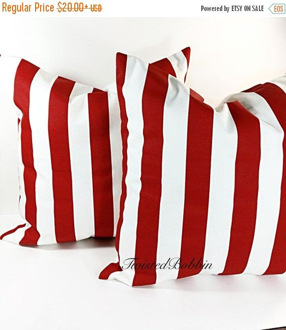 SALE Red Pillow Cover.  red  Stripe by TwistedBobbinDesigns
