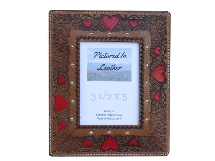 Leather picture frame, 3-1/2x5, Valentine frame, 3rd leather anniversary gift, heart photo frame, valentine boyfriend girlfriend gift