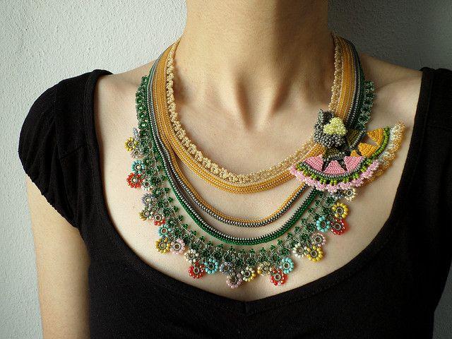 Beaded crochet necklace: Humboldtia Brunonis - necklace with beige, gray, yellow…