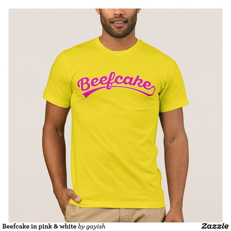 Beefcake in pink & white T-shirt.  #beefcake #muscles #muscular #fitness #fit #male #slang #man #tshirt #gifforhim #him #funny #gayish
