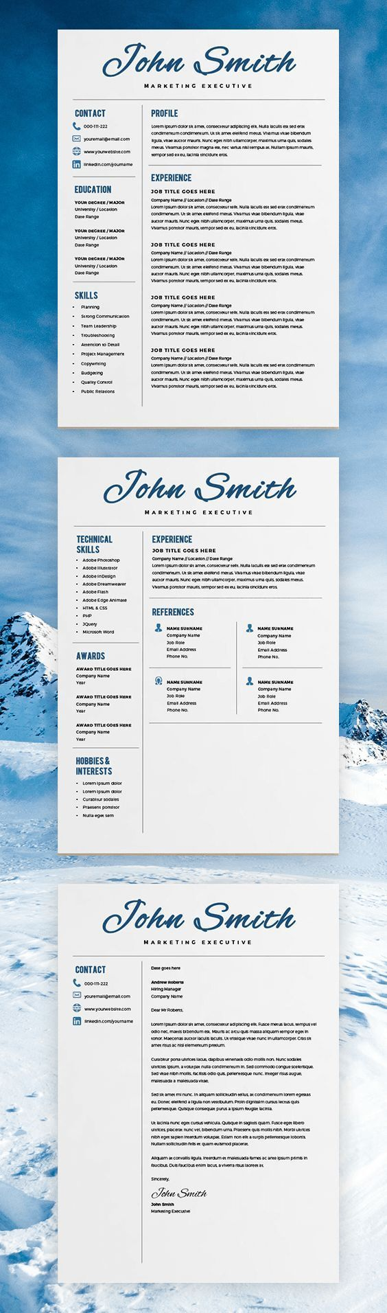 Resume Templates For Pages 2023 Best Cv & Resume Design Images On Pinterest  Cv Resume