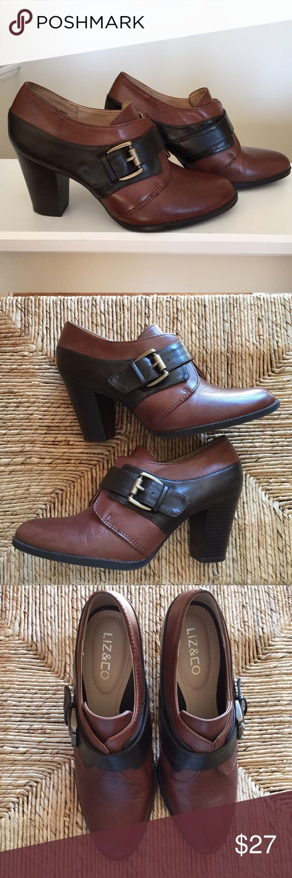 Ankle Boots by Liz & Co Size 7M Two Tone Brown Leather Ankle Boots With Buckle Feature Very Little wear Like New! Size 7 by Liz & Co Liz & Co Shoes Ankle Boots & Booties