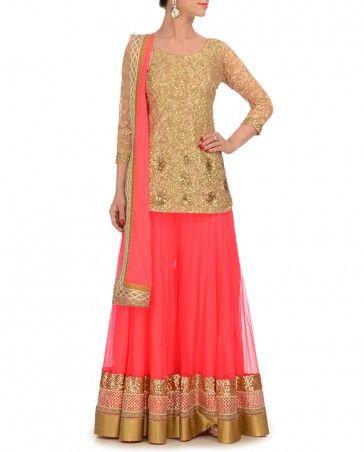 Neon Pink Sharara Set 400