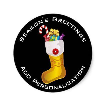Custom Christmas Stocking Labels - christmas craft supplies cyo merry xmas santa claus family holidays