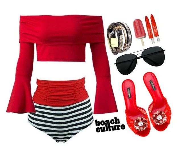 """Fab on the beach !"" by simona-altobelli on Polyvore featuring moda, Dolce&Gabbana e Trish McEvoy"