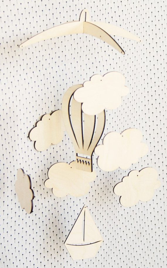 Air ballon Mobile, Nursery Room Mobile, Mobile bébé, Mobile de nuages, bateau, ballon à Air, nuage, Laser Cut Mobile, Mobile de bébé en bois, bois Mobile