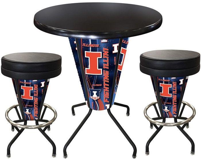 Illinois Fighting Illini D1 Black Lighted Pub Table Set. Two additional Stools are optional. Visit SportsFansPlus.com for details.