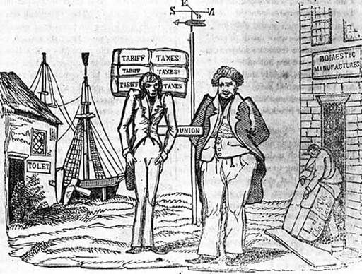 This is a political cartoon depicting the Nullification Crisis. The Nullification Crisis was when the US Government put on some tariffs but South Carolina declared them unconstitutional and unenforceable.