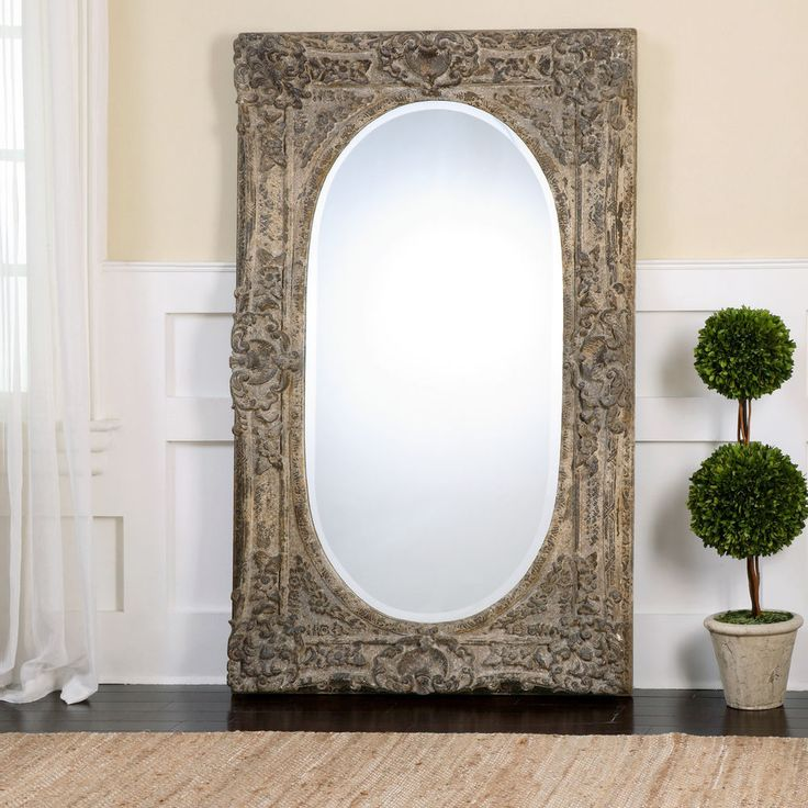 Tuscan / French Style Full Length Dressing Mirror Antiqued Distressed Finish