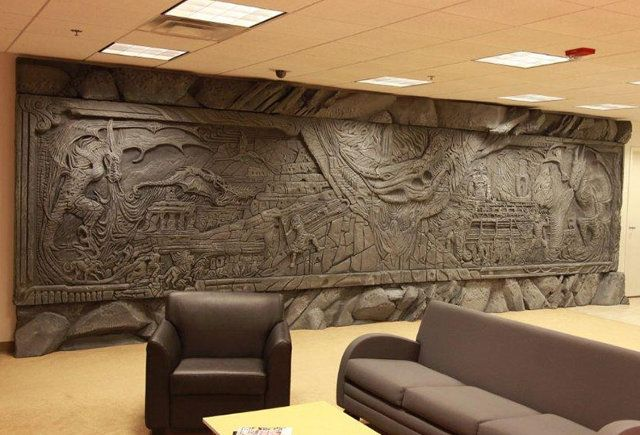 Alduin's Wall from Skyrim Installed In Bethesda's Office This is from an awesome game (Elder Scrolls V: Skyrim) and it would be amazing and a dream to see this in person.