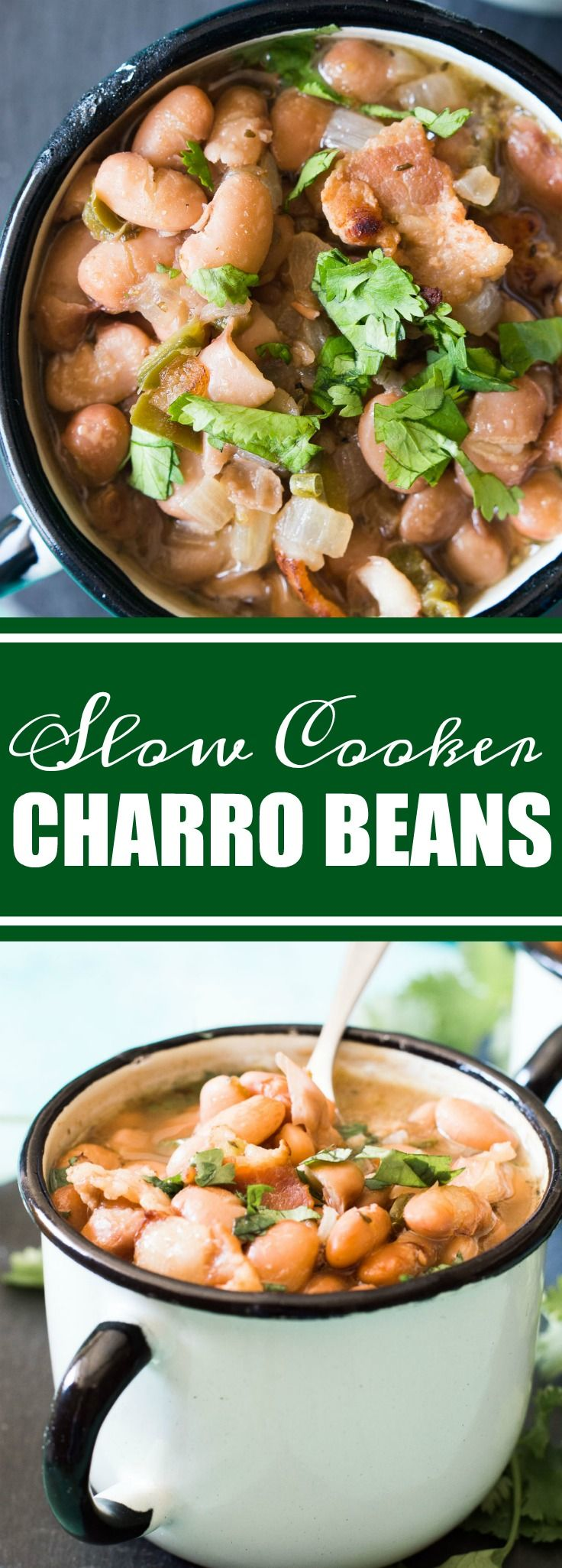 Charro beans.  Or Cowboy beans.  A classic Tex Mex side dish.  This dish is even easier to make than you may think.  No need to soak the beans ahead of time, because honestly, who plans that far in advance.  And this dish can be made in the slow cooker, making it an easy set it and forget it type recipe.