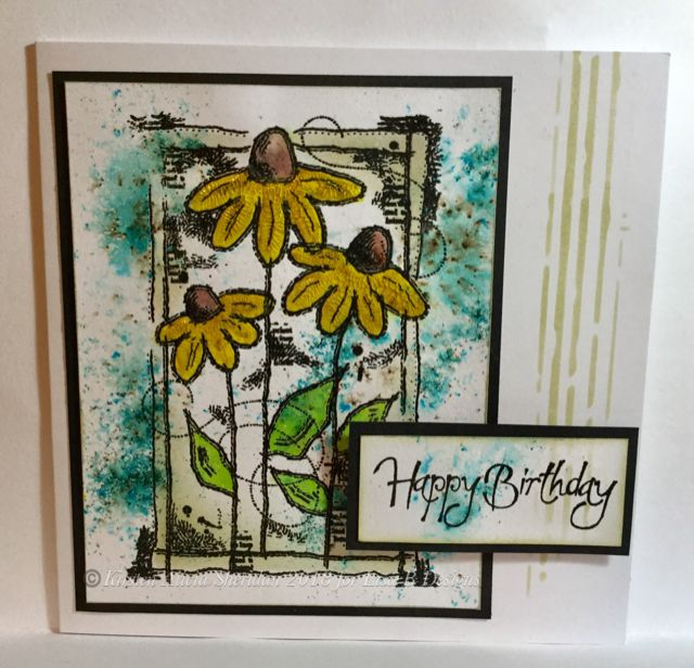 Feb 2018 card making masterclass. Resist techniques. Woodware Sketched Daisies stamp.
