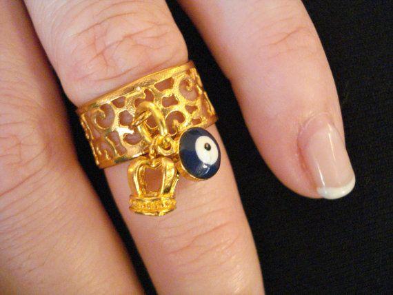 Dangle charm ring Gold charm ring Midi rings Eye charm by Poppyg