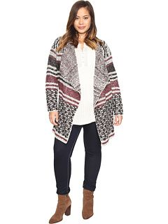 e63015a3f3370 Lucky Brand Plus Size Mixed Stripe Cardigan
