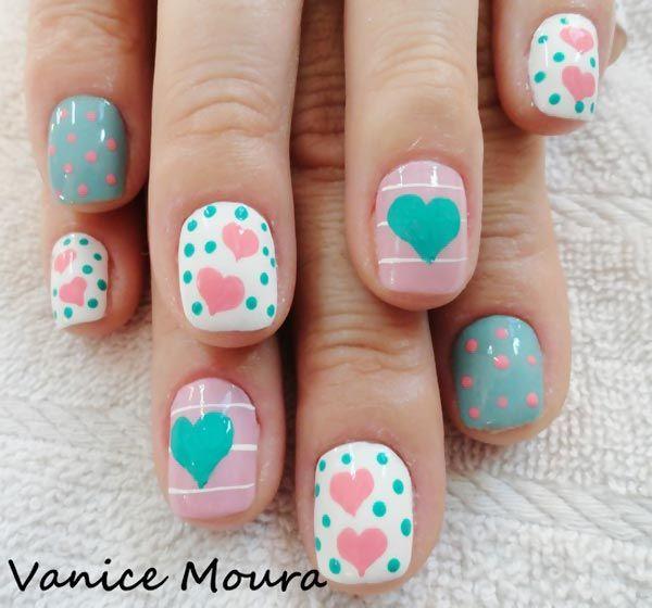 hearts dots pink teal