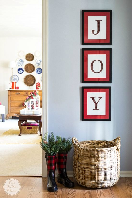JOY Free Christmas Printables | 3 separate printables to download for instant Christmas decor! Letters are a fun red and black buffalo plaid.