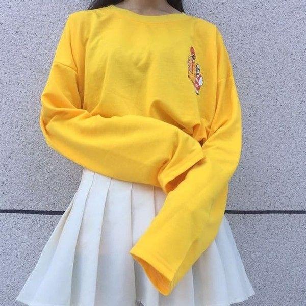 Macdonalds vs kfc yellow long sleeved ulzzang shirt Shy Lolita (31 CAD) ❤ liked on Polyvore featuring tops, long-sleeve shirt, yellow long sleeve shirt, yellow long sleeve top, yellow shirt and yellow top