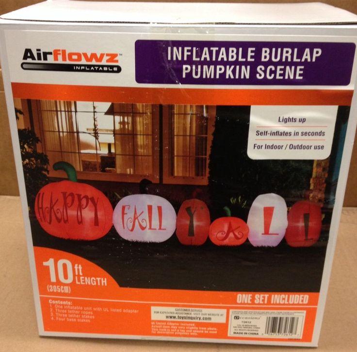 10' Happy Fall Burlap Pumpkin Scene Airblown Inflatable Holiday Yard Prop Decor