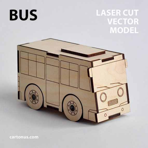 Bus & Garage wooden toys. Vector models for laser cut. by cartonus