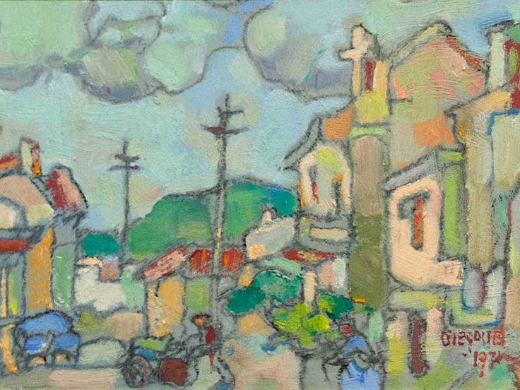 """Gregoire Boonzaier (SA 1909 - 2005) Oil, """"Cottages - Cape"""", Signed & Dated 1971"""