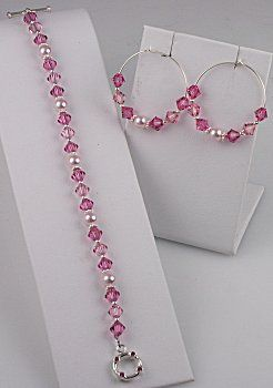 IDEA: Sparkling Rose Bracelet and Earrings (eebeads.com)
