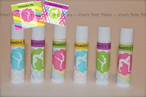 Gymnastics Party Favors - Customized Lip Balm - Kids Lip Balm - Set of 6 - Free Customization - Lip Gloss Party Favor