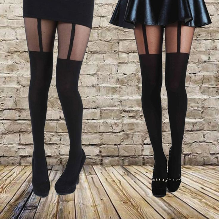 Nieuwe Nieuwste Ontwerp Mock Jarretelle Panty Comfortabele Panty Zeer Modieuze Kousen Gedessineerde Panty voor Vrouwelijke