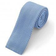 Pastelkleurige blauwe gebreide stropdas
