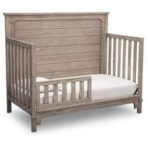 The Monterey 4-in-1 Convertible Baby Crib from Simmons Kids Slumbertime makes it easy to create a farmhouse-style nursery with its shiplap-inspired paneling. Other rustic design details like a softly distressed finish coordinate well with the crib's modern, curved feet. A warm and welcoming sleep space your child will use for years to come, this versatile crib features a three-position mattress support that can be lowered as your baby grows. Plus, the crib converts into a toddler be...