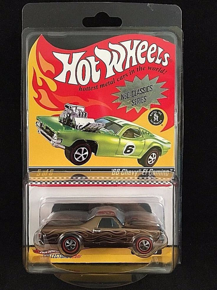 Hot Wheels Neo Classics Series 6 68 CHEVY EL CAMINO Brown Flames W/ Protecto  #HotWheels #Chevrolet