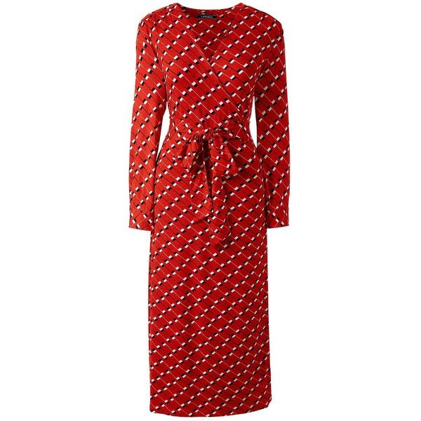Lands' End Women's Petite 3/4 Sleeve Knit Wrap Dress ($69) ❤ liked on Polyvore featuring dresses, orange, petite dresses, petite wrap dress, lands end dresses, orange dress and red orange dress