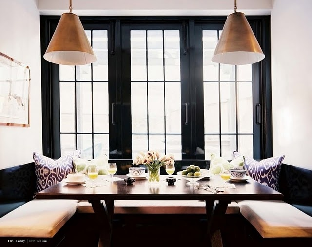 ikat, black molding and brass pendants, love / dining nook