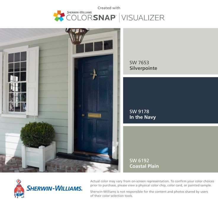 I found these colors with ColorSnap® Visualizer for iPhone by Sherwin-Williams: Silverpointe (SW 7653), In the Navy (SW 9178), Coastal Plain (SW 6192).