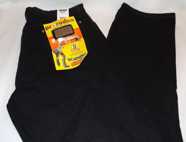 Pro Rodeo Wrangler Mens Black Jeans Denim Original Fit Cowboy Cut New 36 x 34