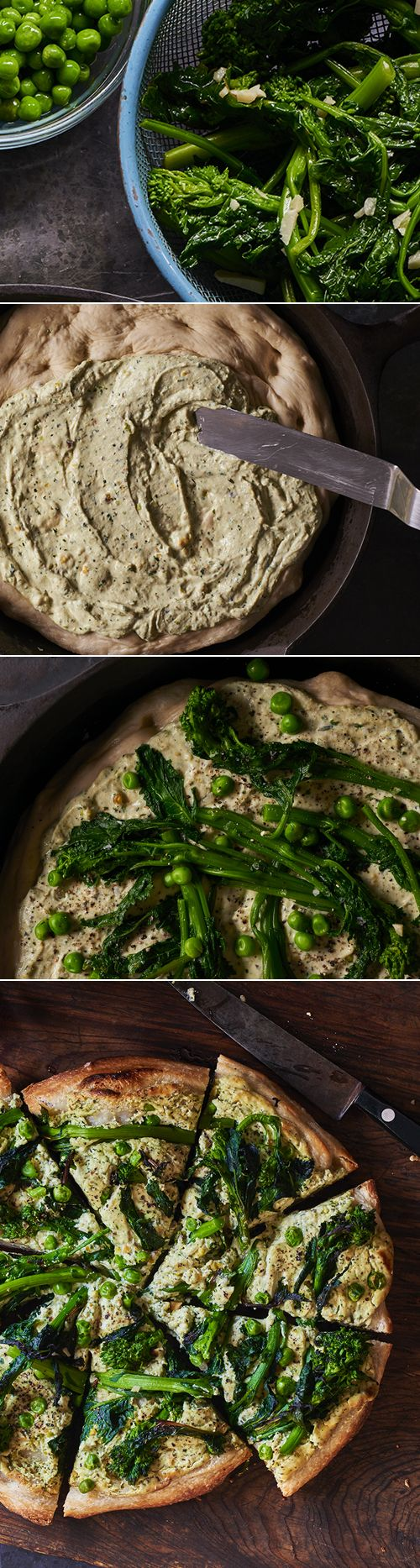 Broccoli Rabe and Green Ricotta Skillet Pizza may soon be your favorite pizza. It is a great vegetarian option and replacement of your favorite take-out.