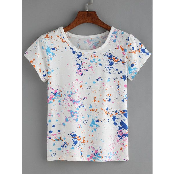 Colorful Paint Splash T-shirt ($4.99) ❤ liked on Polyvore featuring tops, t-shirts, white, white round neck t shirt, short sleeve t shirt, white tee, short sleeve tee and stretchy tops