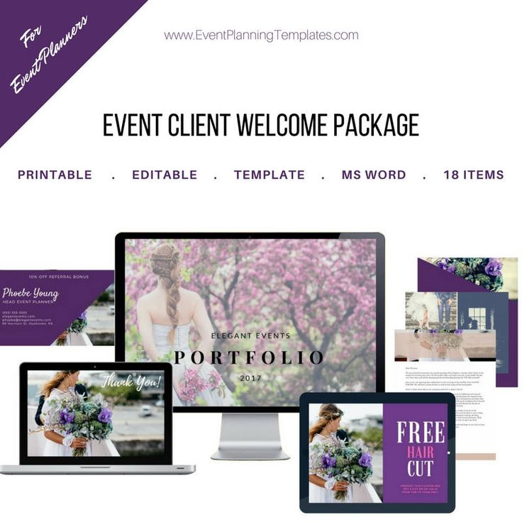 Event Planning Client Welcome Package for Event and Wedding Planners. Customizable Printable Template. MS Word and JPEG