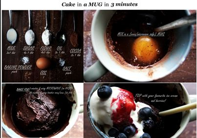 Make a Cake in a mug in 3 minutes. Here is a simple recipe for winter comfort food. What do you think of this? #comfortfood #cakeinamug