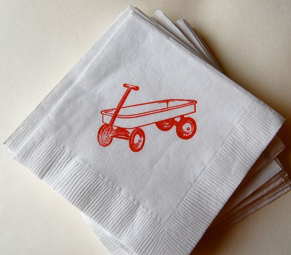 Red Wagon Beverage Napkins / Set of 50 / Perfect addition to your red wagon party