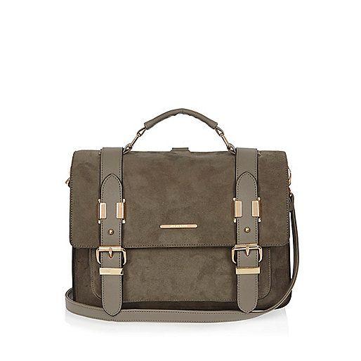 Grote grijze satchel-handtas van imitatiesuède - schooltassen - tassen/Portemonness - dames