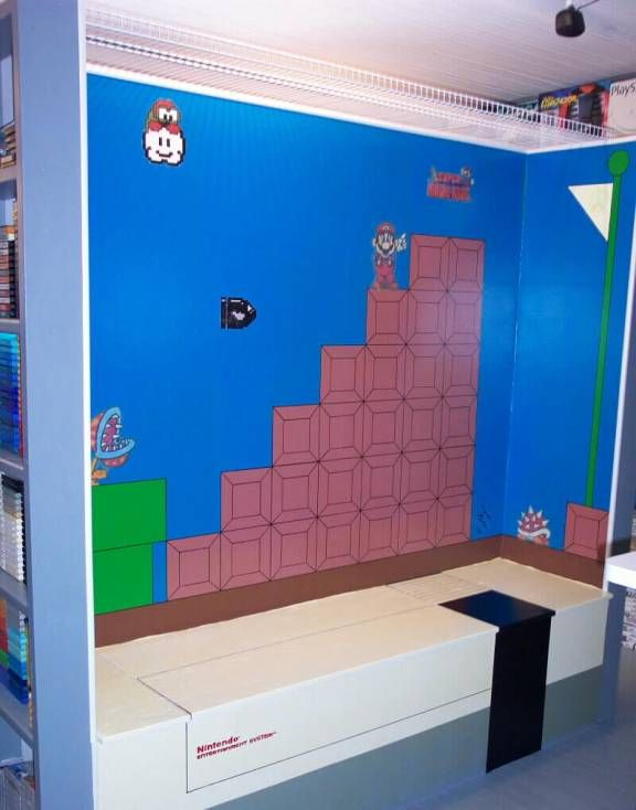 Super Mario Bros wall decoration  I want the fake console as a bench. 200 best Mario bedroom images on Pinterest