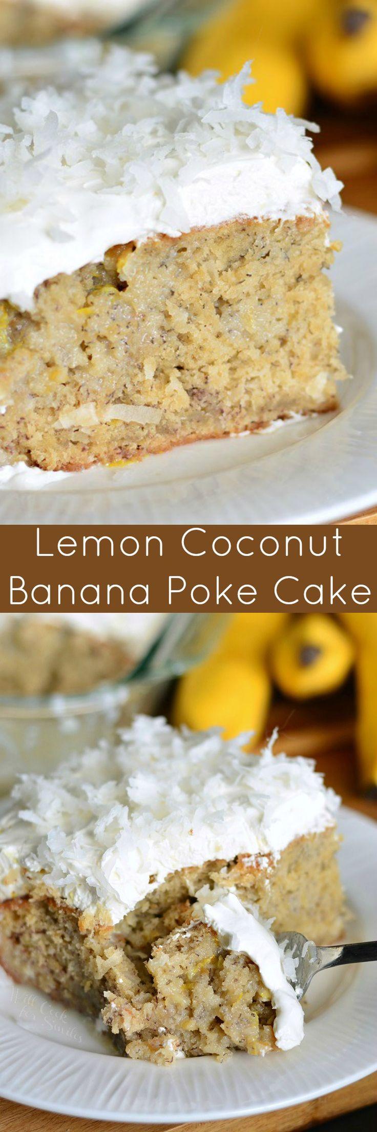 Lemon Coconut Banana Poke Cake. Soft and moist banana cake made with coconut and lemon flavors from top to bottom. #bananacake #pokecake #coconut #banana #dessert